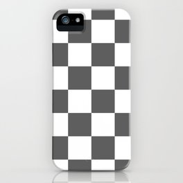 Large Checkered - White and Dark Gray iPhone Case