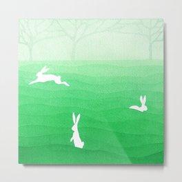 Rabbits meadow Metal Print