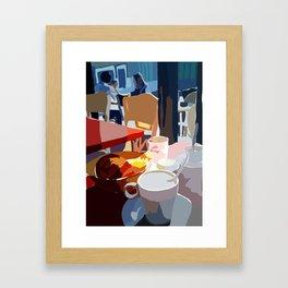 Cafe et Croissante Framed Art Print
