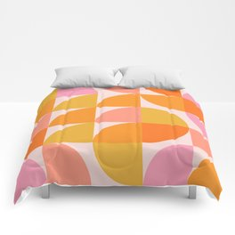 Mid Century Mod Geometry in Pink and Orange Comforters