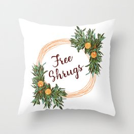 Free Shrugs spring summer wreath Throw Pillow