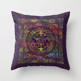 Colorful Sri Yantra  / Sri Chakra Throw Pillow