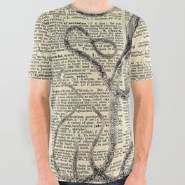 Book Art Octopus black & white All Over Graphic Tee