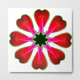 Clover Leaf Star in Red Metal Print