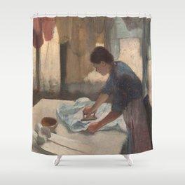 Woman Ironing Shower Curtain