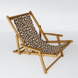 Leopard Print, Black, Brown, Rust and Tan Sling Chair