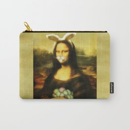 Easter Mona Lisa with Whiskers and Bunny Ears Carry-All Pouch