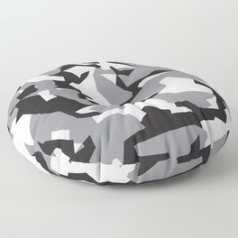 Camouflage Splinter Pattern Grey Floor Pillow