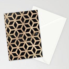 Pattern Formes Doré/Noir Stationery Cards