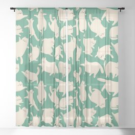 White Cats Pattern Sheer Curtain