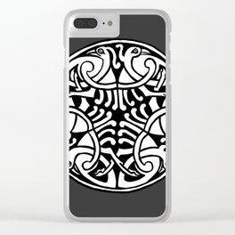 Celtic Art - Interlaced Birds - on Grey Clear iPhone Case