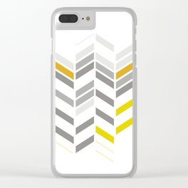 Deconstructed Chevron A – Gray / Yellow / Orange Pattern Print Clear iPhone Case