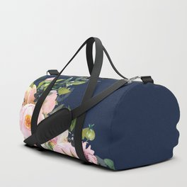 Boho, Floral Watercolor, Roses, Navy Blue and Pink Duffle Bag