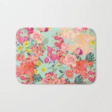 Antique Floral Print in Coral and Mint Tones Bath Mat