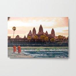 Monks at Angkor Wat Sunrise, Siem Reap, Cambodia Metal Print