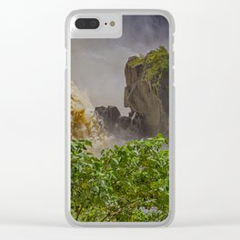 Rock showing in the waterfall Clear iPhone Case