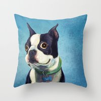 terrier Throw Pillows featuring Boston Terrier by Jackie Sullivan