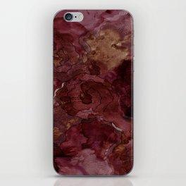 Rose, Burgundy and Merlot Watercolor Flowers iPhone Skin