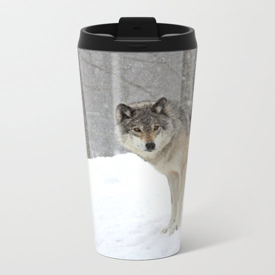 A lone wolf Metal Travel Mug