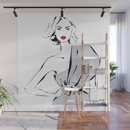 Fashion Blonde Girl in drapped dress Wall Mural