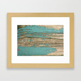 Rustic Wood Ages Gracefully - Beautiful Weathered Wooden Plank - knotty wood weathered turquoise pai Framed Art Print