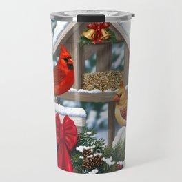 Red Cardinals and Christmas Bird Feeder Travel Mug