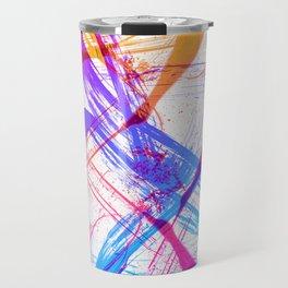 Vibrant and Expressive Multicolor Brushstrokes Travel Mug