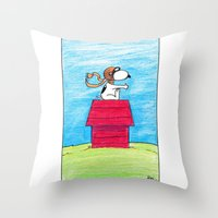 snoopy Throw Pillows featuring pilot Snoopy by DROIDMONKEY