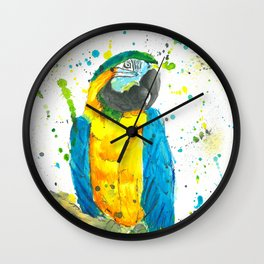 Blue & Gold Macaw - Watercolor Painting Wall Clock