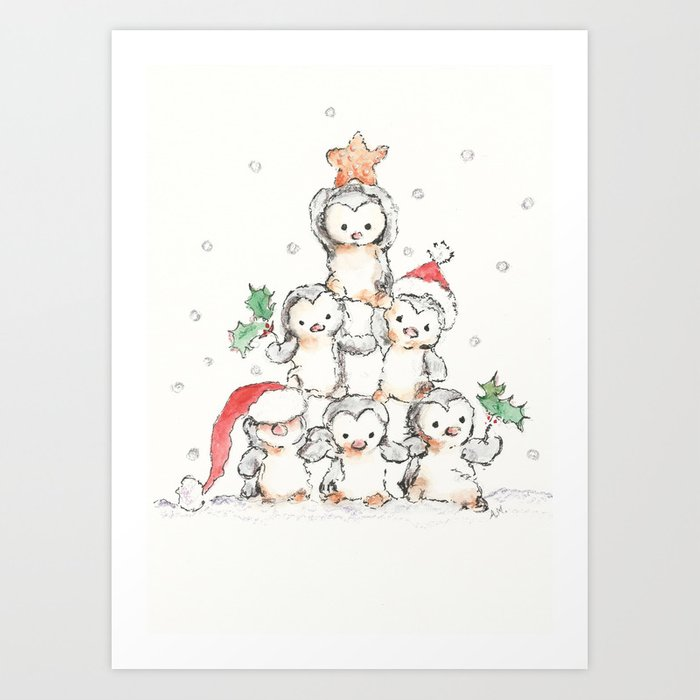 Oh Penguin Tree Art Print