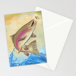 End Of The Line // Rainbow Trout Jumping Out Of Splashing Water // With Lure at Sunset // Fish On! Stationery Cards