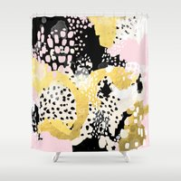 coachella Shower Curtains featuring Simone - abstract painting gold foil trendy hipster pastel pink modern trendy colors decor college by CharlotteWinter