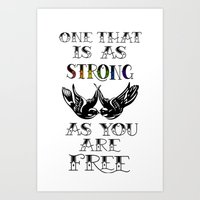 larry stylinson Art Prints featuring One that's strong as you are free (Larry Stylinson) by Arabella