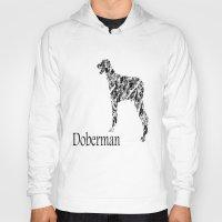 doberman Hoodies featuring Doberman Scribble by Jake Stanton