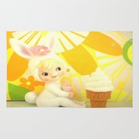 bunny Area & Throw Rugs featuring Bunny  by Vintage  Cuteness