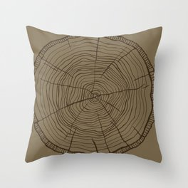 Tree rings brown Throw Pillow