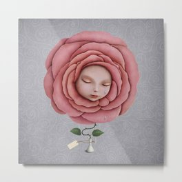girl with her head in the blooming rose Metal Print