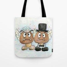 Goombas Bride and Groom, Nintendo Geek Wedding Tote Bag