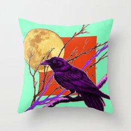Surreal Purple-green  Mystic Moon Crow/Raven Moon Abstract Throw Pillow