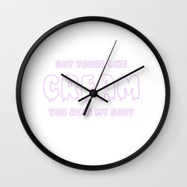 Dripping Neon Cream Wall Clock