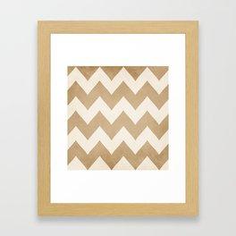 Biscotti & Vanilla - Beige Chevron Framed Art Print