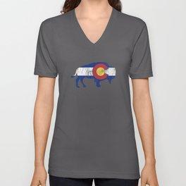 Native Colorado Gifts CO State Flag Colorado Pride Buffalo Unisex V-Neck