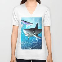shark V-neck T-shirts featuring Shark by nicky2342