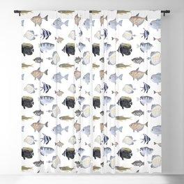 Fish Pattern - Blue & Gray Watercolor Theme Blackout Curtain
