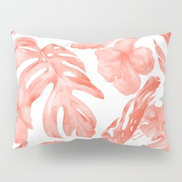 Tropical Hibiscus and Palm Leaves Dark Coral White Pillow Sham