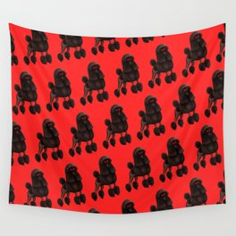Poodle Pattern - Red Wall Tapestry