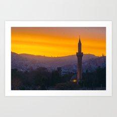 A minaret engulfed by birds Art Print