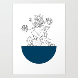 VESSEL - Floral Ink in Peacock - Cooper and Colleen Art Print