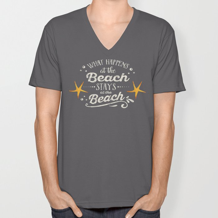 Happy Beach Life- Saying on aqua wood Unisex V-Neck