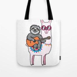 Sloth llama guitar Tote Bag